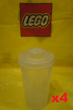 LEGO Plastic Stackable Storage BRICK CONTAINER CUPS w/ Snap On Lids - Qty x 4