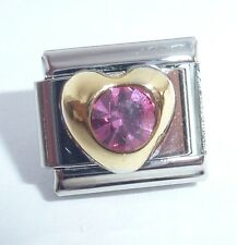 GOLD HEART w/ BIG PINK GEM Italian Charm 9mm - fits Classic Bracelets I Love You