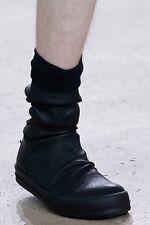 Rick Owens Runway Black Sock Sneakers Stretch Lamb Leather (IT 41)