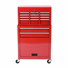 Rolling Tool Cabinet Chest Box Red Steel Storage Drawers Lock Garage Mechanic