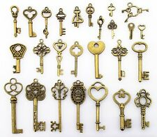 US 52PCS Antique Vtg old look skeleton key lot pendant heart bow lock steampunk