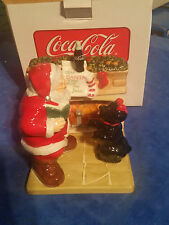 Coca Cola Holiday Portrait Salt & Pepper SHAKERS Santa And Dog by Fire Place
