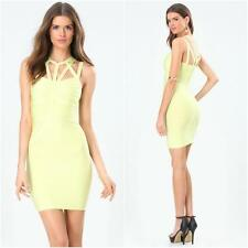 BEBE SUNNY LIME STRAPPY YOKE BANDAGE DRESS NEW NWT LARGE L