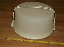 3 PC LARGE/TALL & ROUND TUPPERWARE CAKE/PIE TAKER-BASE, LID & HANDLE-ALMOND