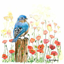 ACEO Limited Edition - Bluebird in a poppy field, Valentine's day gift idea