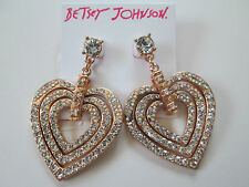 NWT Auth Betsey Johnson Rose Gold Large Heart Rhinestone Dangle Drop Earrings