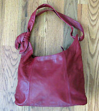 NEW Genuine Red Leather Shoulder Hobo Bag Purse MADE IN ITALY