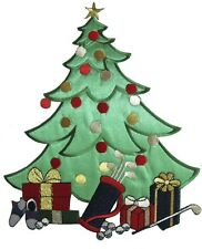 """#3141L 8-1/2"""" Holiday Christmas Tree w/Gift Box Embrodery Applique Patch-XL"""