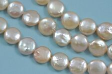 11-12mm Peach Oyster Pink Coin Flat Round Disc Freshwater Pearls Beads A