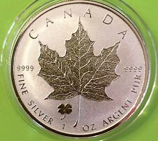 2016 1 Oz Canadian Silver Maple Leaf - 4 Leaf Clover Privy - Reverse Proof 9999
