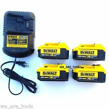 4) New Genuine Dewalt 20V DCB204 4.0 AH Li-ion Batteries,(1) Charger 20 Volt MAX