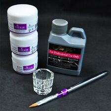 Portable Nail Art Tool Kit Set Crystal Powder Acrylic Liquid Dappen Dish DG