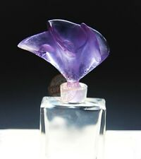 DAUM CRYSTAL AMAZING ARUM LILY BLUE/PURPLE PERFUME BOTTLE FRANCE SIGNED BOX 3922