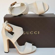 GUCCI New sz 37.5 7.5 Auth Designer Bamboo Womens Sandals Heels Shoes off White