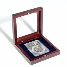 1 Lighthouse Mahogany Finish Slab Storage Box Certified Graded Coin W/ Glass Lid