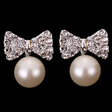 bridal wedding Jewelry big pearl Crystal Bowknot Ear stud Sliver Plated Earrings