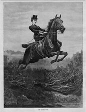 EQUESTRIAN WOMAN RIDER ATTEMPTING WATER JUMP SADDLE HORSE HARNESS ENGRAVING