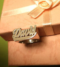 NAME RING PERSONALIZED STERLING SILVER ANY NAME*FLAT FACE WITH TAIL* USA SELLER