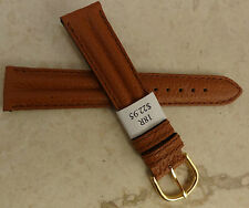 New Made in France Tan Padded Leather 18mm Watch Band Gold Tone Buckle $22.95