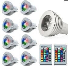 8x GU10 3W 16 Color Changing RGB LED Light Bulb Lamp 85-265V+2 IR Remote Control