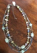 Lia Sophia Three Strand Silver Tone Beaded Necklace Green Blue Aqua & Vicenza