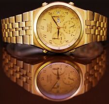 Seiko 7A38-7289 Men's Quartz Chronograph Watch Gold Plated With Magnified Glass