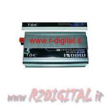 INVERTER 1500W 1500 WATT 12V 220V AUTO CAMPER CAVI PINZE ACCENDISIGARI