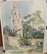 MCFARLING ANNA MAE KELLY MISSON BELL TOWER ORIGINAL WATERCOLOR PAINTING