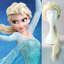 Frozen Elsa Adult Blonde Ponytail Princess Costume Wig Hair Braids Cosplay