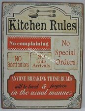 Novelty Tin Wall Sign Decoration Kitchen Rules No Complaining, No Special Orders