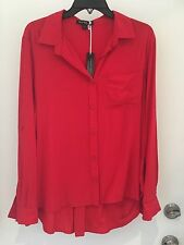 Velvet Heart Red XL  button Front Roll Tab Sleeve Shirt NWT