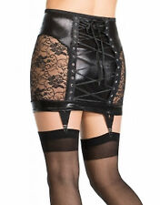 Black Faux Latex Skirt With Suspenders Lace Up Back See Through Lace