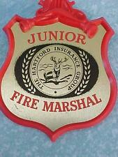 1962 JUNIOR FIRE MARSHALL Toy Badge by The Hartford Insurance Group