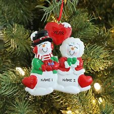 Snowman Wedding COUPLE OUR 1st BRIDE GROOM Personalized Christmas Tree Ornament