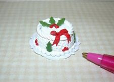 Miniature Bright deLights Holly Theme Christmas Cake #3: DOLLHOUSE Food 1/12