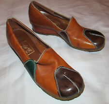 vintage 60's Lady McGuire patchwork mod leather wood wedge shoes 6 M