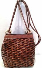 Warren Reed Italy Woven Tri Color Brown Leather Gold Loop Small Bucket Bag