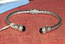 NWT New SAMMY B. SS Sterling Silver Hinged Cable Bangle Bracelet Black Onyx
