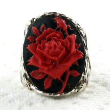 Red Rose Cameo Ring .925 Sterling Silver Jewelry Size Selectable Resin