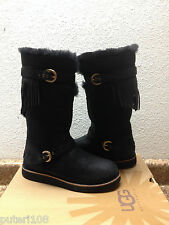 UGG DAUPHINE BLACK LEATHER RIDER BOOTS US 6 / EU 37 / UK 4.5 - NEW