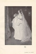 D. Y. Cameron Wedding Dress Veil Flowers Bride Edwardian 1905 Photogravure