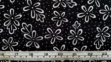 BLACK AND WHITE FLORAL ABSTRACT FLOWERS COTTON QUILT FABRIC