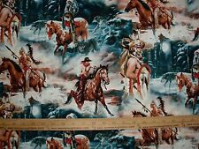 Cotton Fabric Majestic Indians and Cowboys Horses Beautiful! BTY