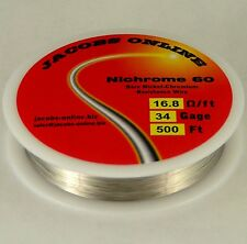 Nichrome 60 resistance wire, 34 AWG (gauge), 500 feet