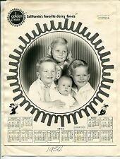 "Vintage ""Golden State"" Dairy Custom Promo: 1954 Wall Calendar w/ Family Photo"