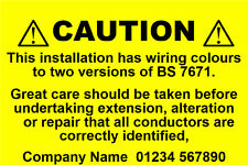 50 Mini Personalised Electrical Caution Labels (76 x 51mm)