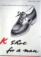 1948 'K' Mens Shoes Original Advert - Small Vintage Print Ad