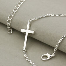 Jesus Christ Titanium Steel Polished Criss Cross Pendant Choker Chain Necklace