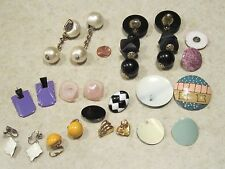 VINTAGE Lot 11 Assorted Earrings GOLD&SILVER TONE,YELLOW,BLACK,PEARL,MONET METAL