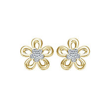 18kt Gold Micro Plated in 925 Silver Real Diamond Beautiful Flower Stud Earrings